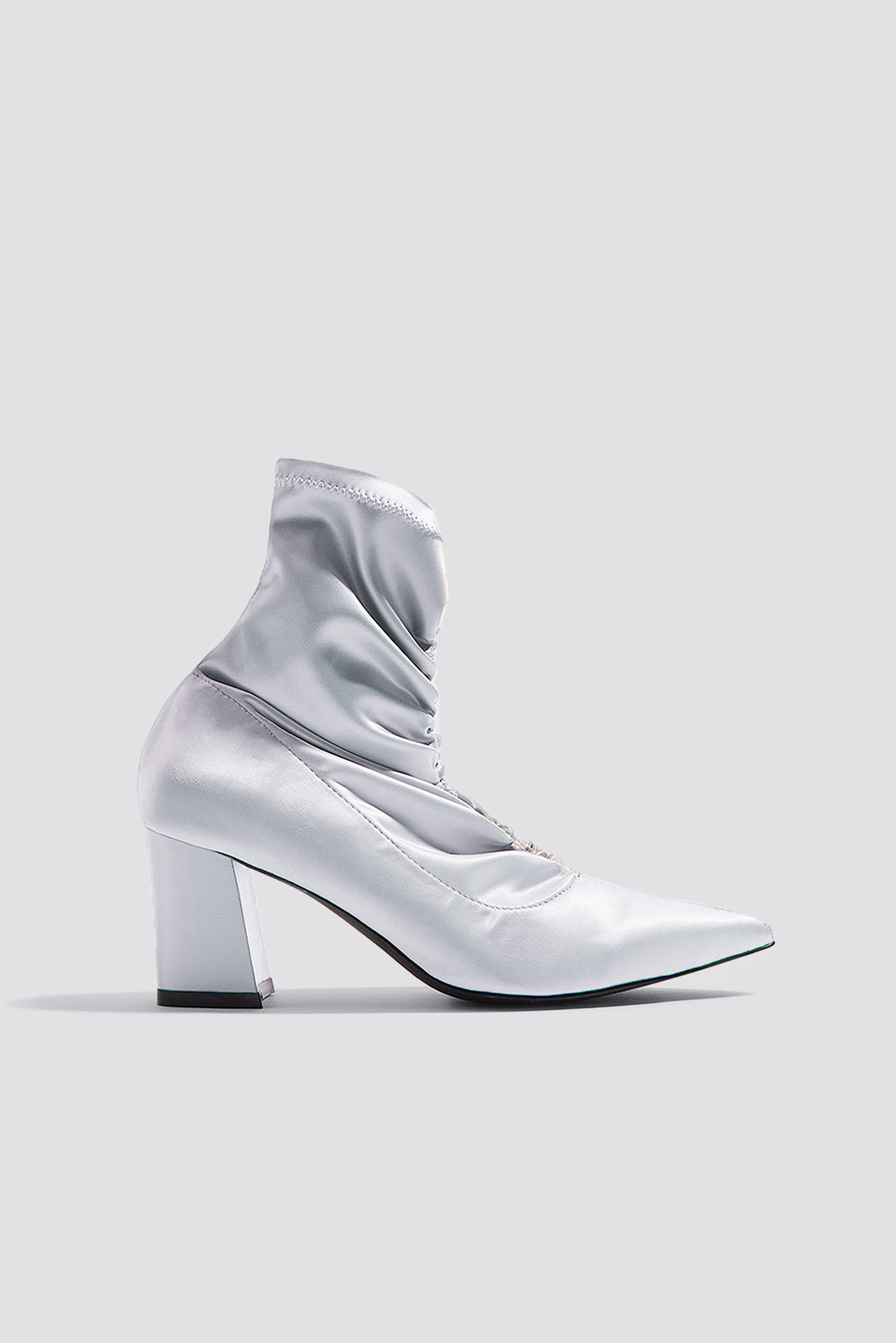 na-kd shoes -  Gathered Front Sock Boots - Grey,Silver