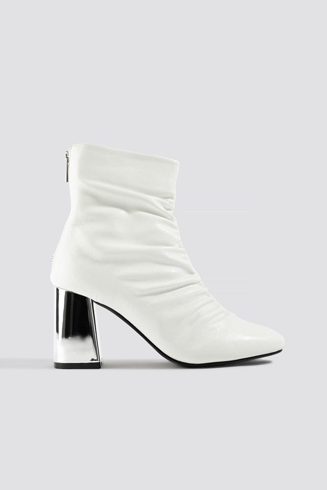 Gathered Mod Ankle Boot Ecru