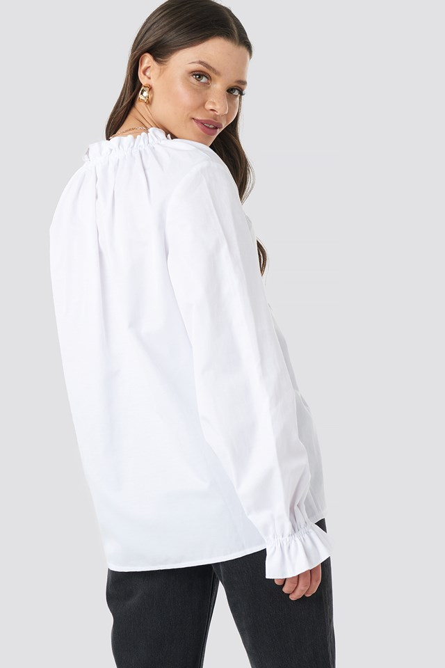 Gathered Neckline Oversize Top White