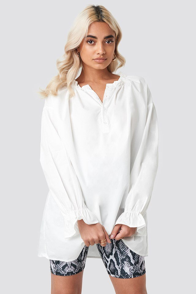 Gathered Neckline Tunic White