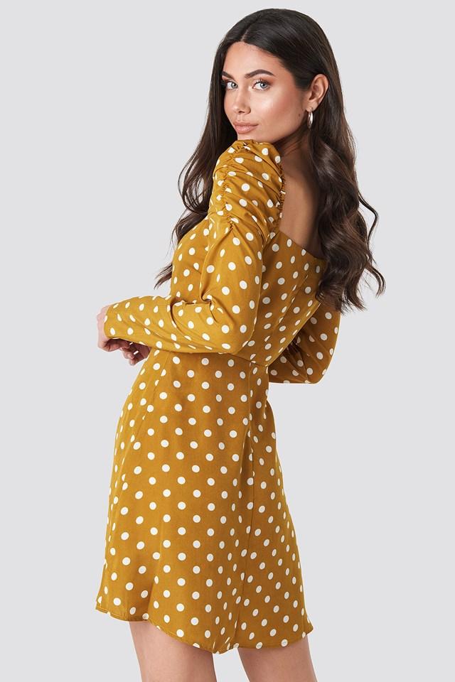 Gathered Puff Sleeve Mini Dress Mustard