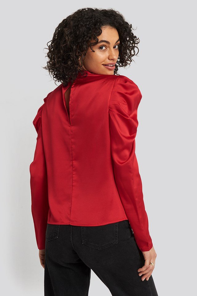 Gathered Satin Blouse Red