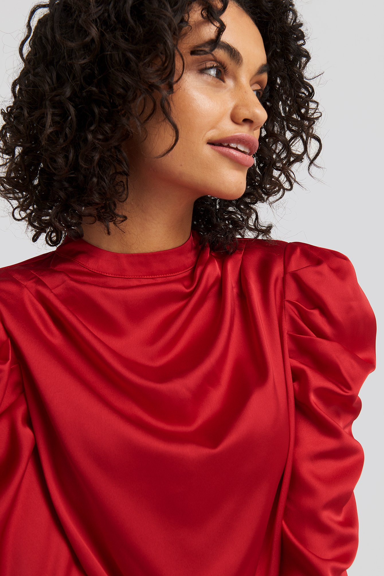 Red Gathered Satin Blouse