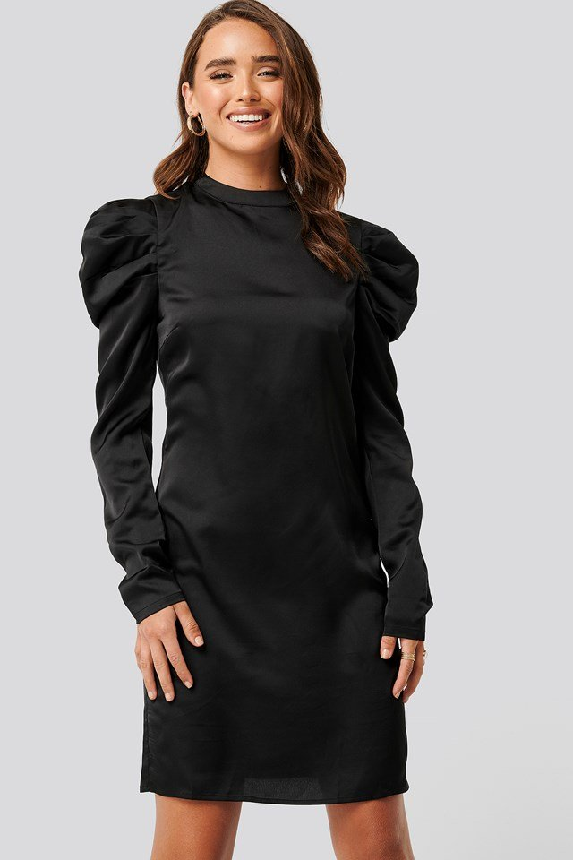 Gathered Satin Dress Black
