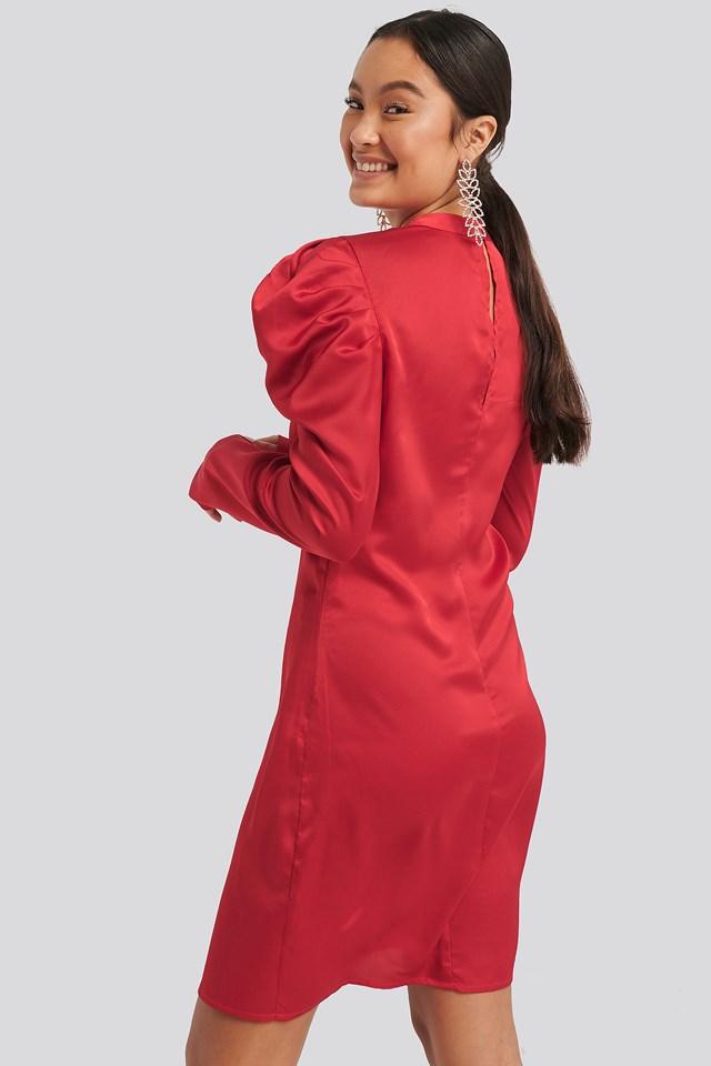 Gathered Satin Dress Red