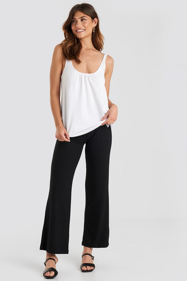 Gathered Scoop Neck Top White