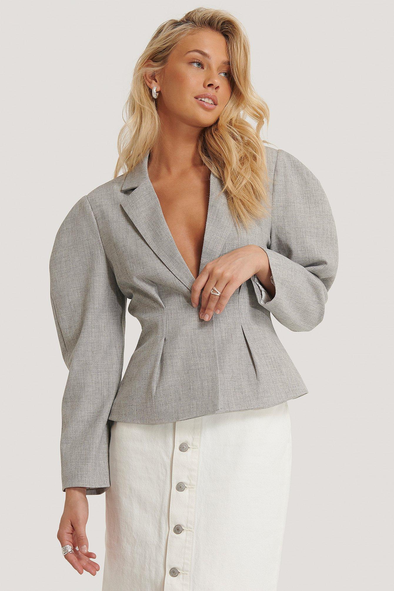 na-kd classic -  Gathered Short Blazer - Grey
