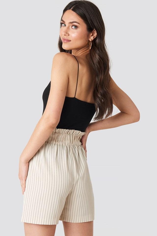 Gathered Shorts Beige/Black Stripe