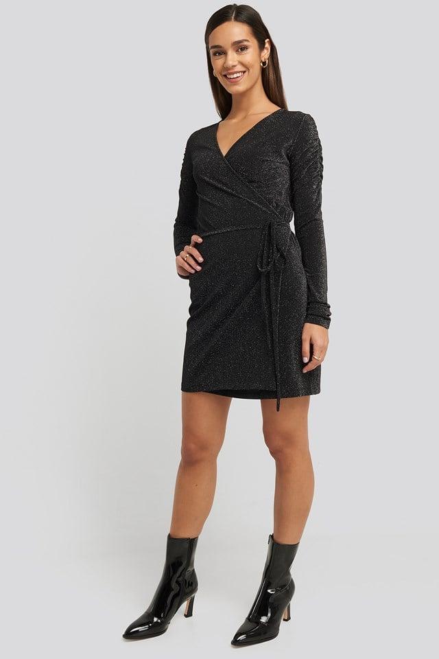 Gathered Shoulder Glittery Dress Black