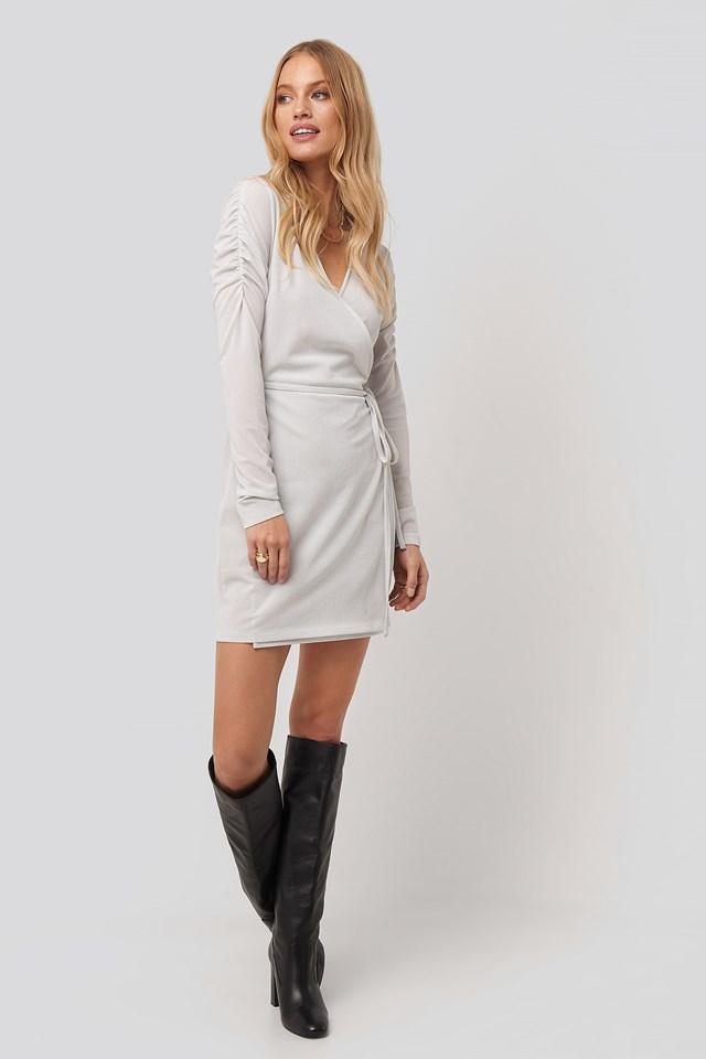 Gathered Shoulder Glittery Dress Silver
