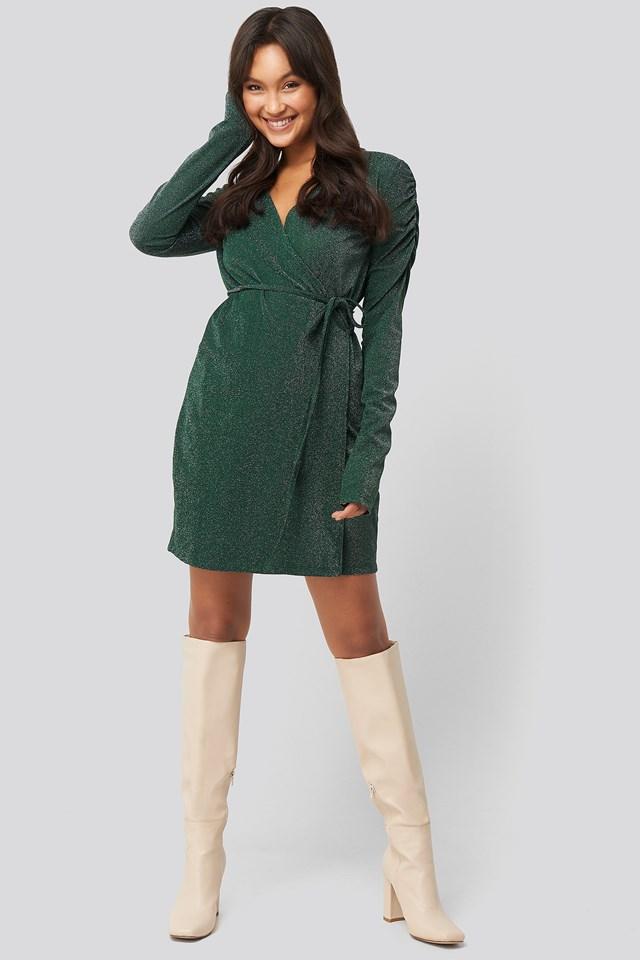 Gathered Shoulder Glittery Dress Dark Green