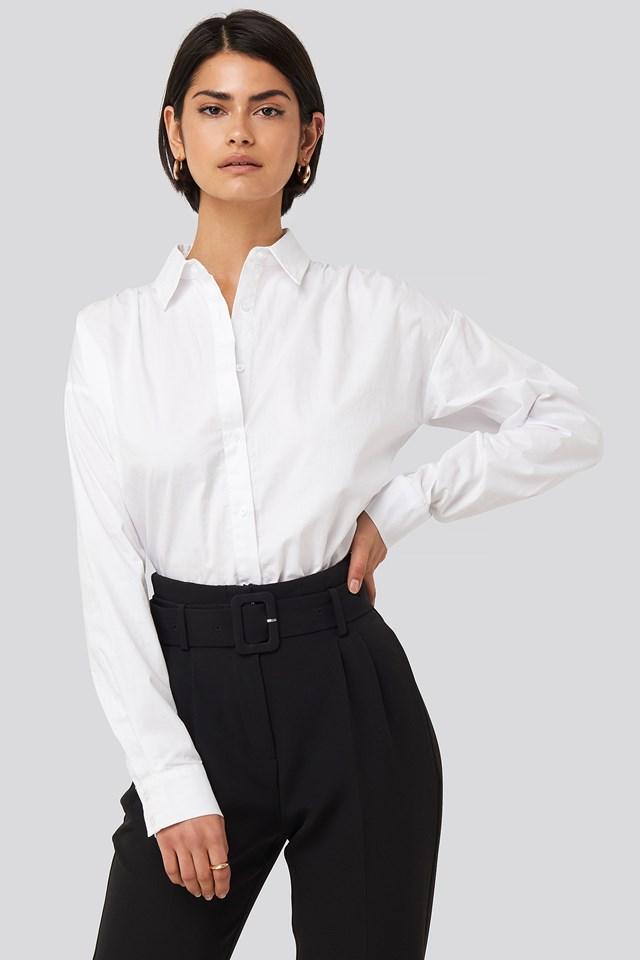 Gathered Shoulder Shirt White