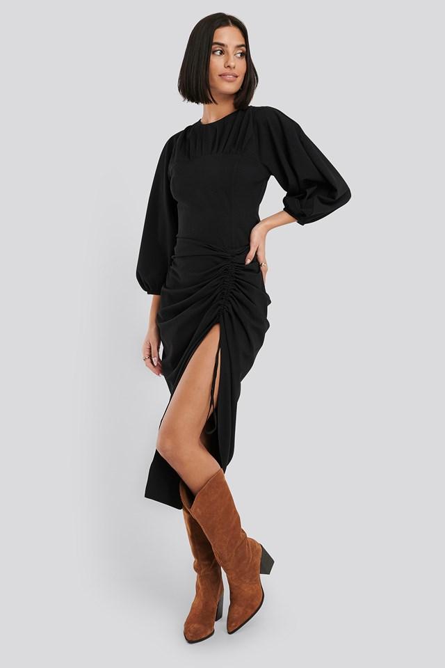 Gathered Side Split Midi Skirt Black
