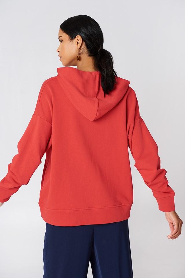 Gathered Sleeve Hoodie Red