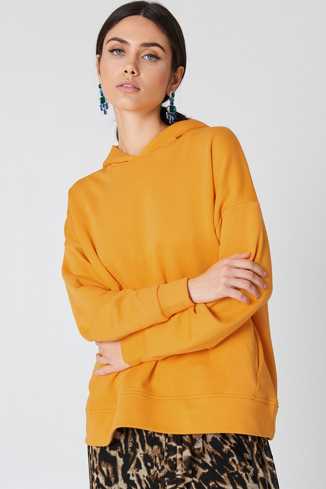 Gathered Sleeve Hoodie Orange