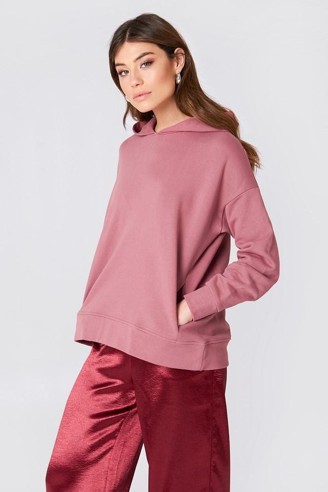 Bluza z kapturem z drapowanym rękawem Pink Rose
