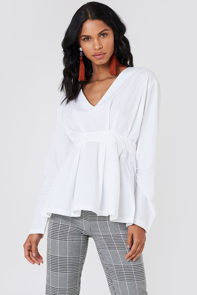 Gathered Sleeve Oversize Blouse White