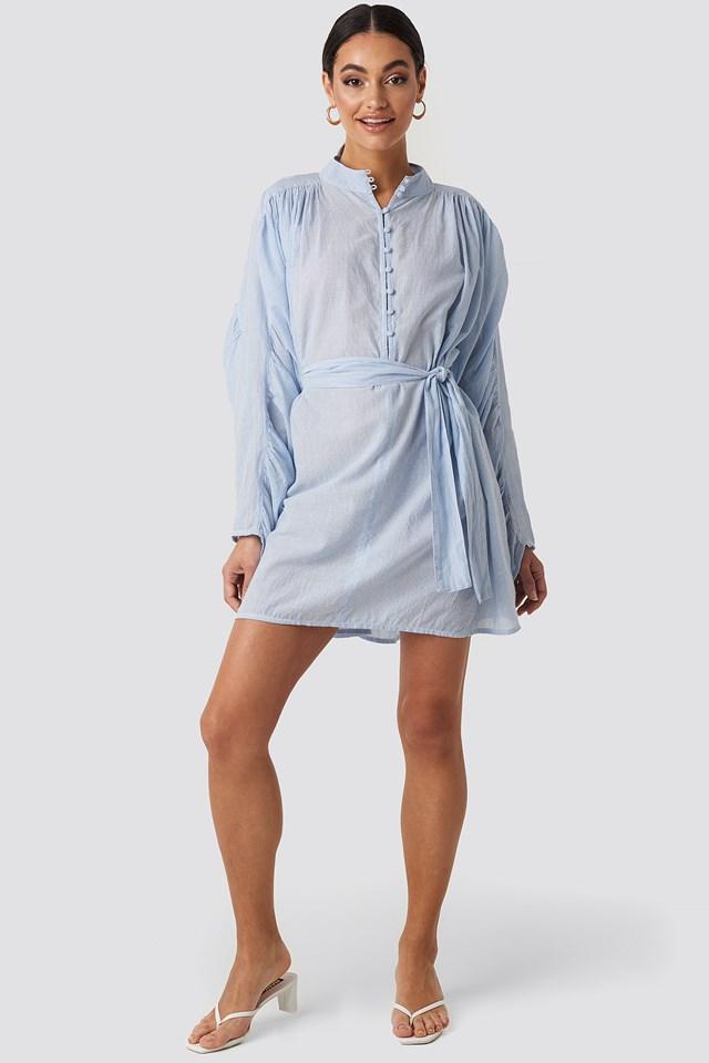 Gathered Sleeve Tied Waist Striped Shirt Blue/White Stripe