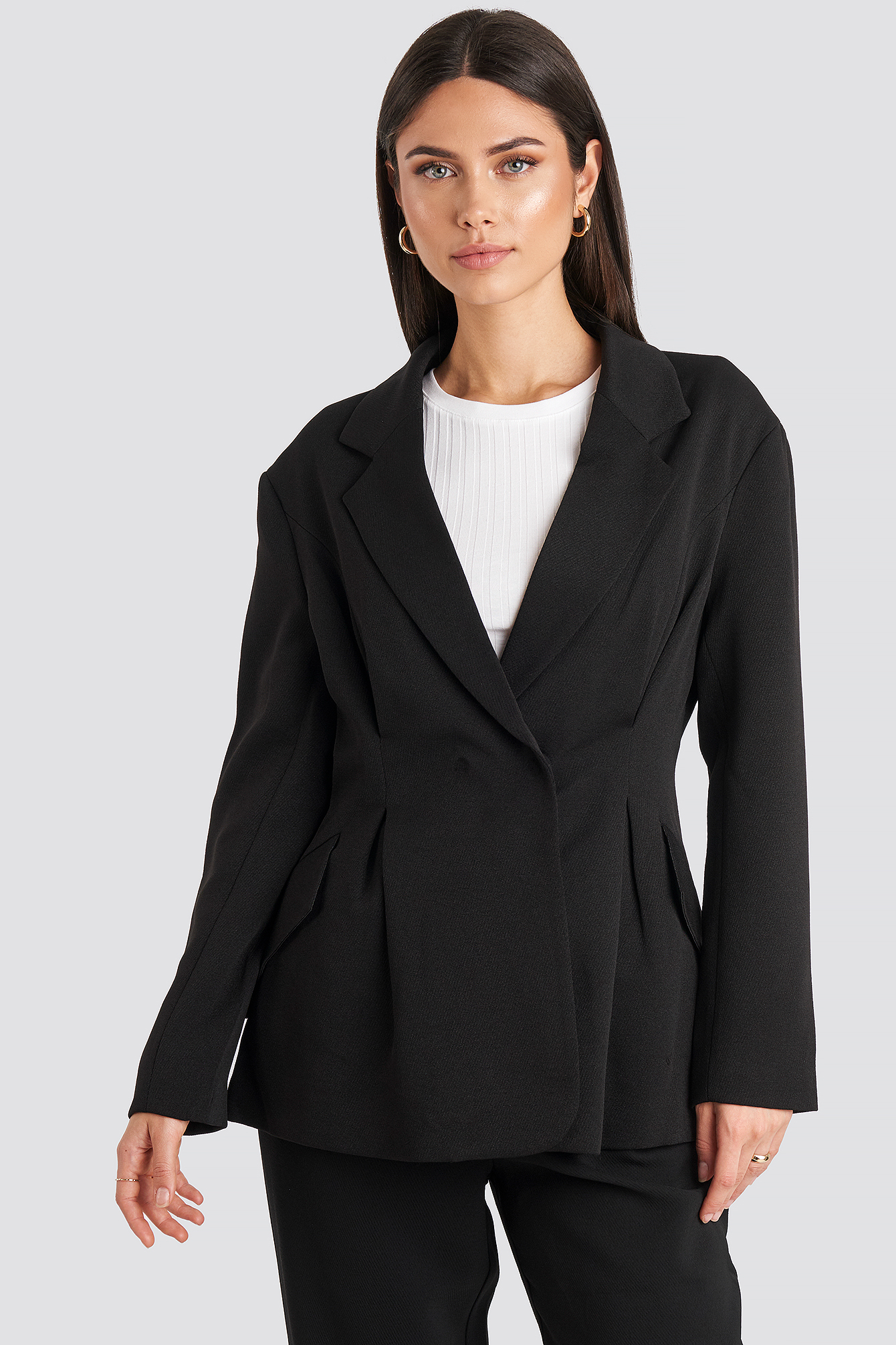 na-kd classic -  Gathered Waist Blazer - Black