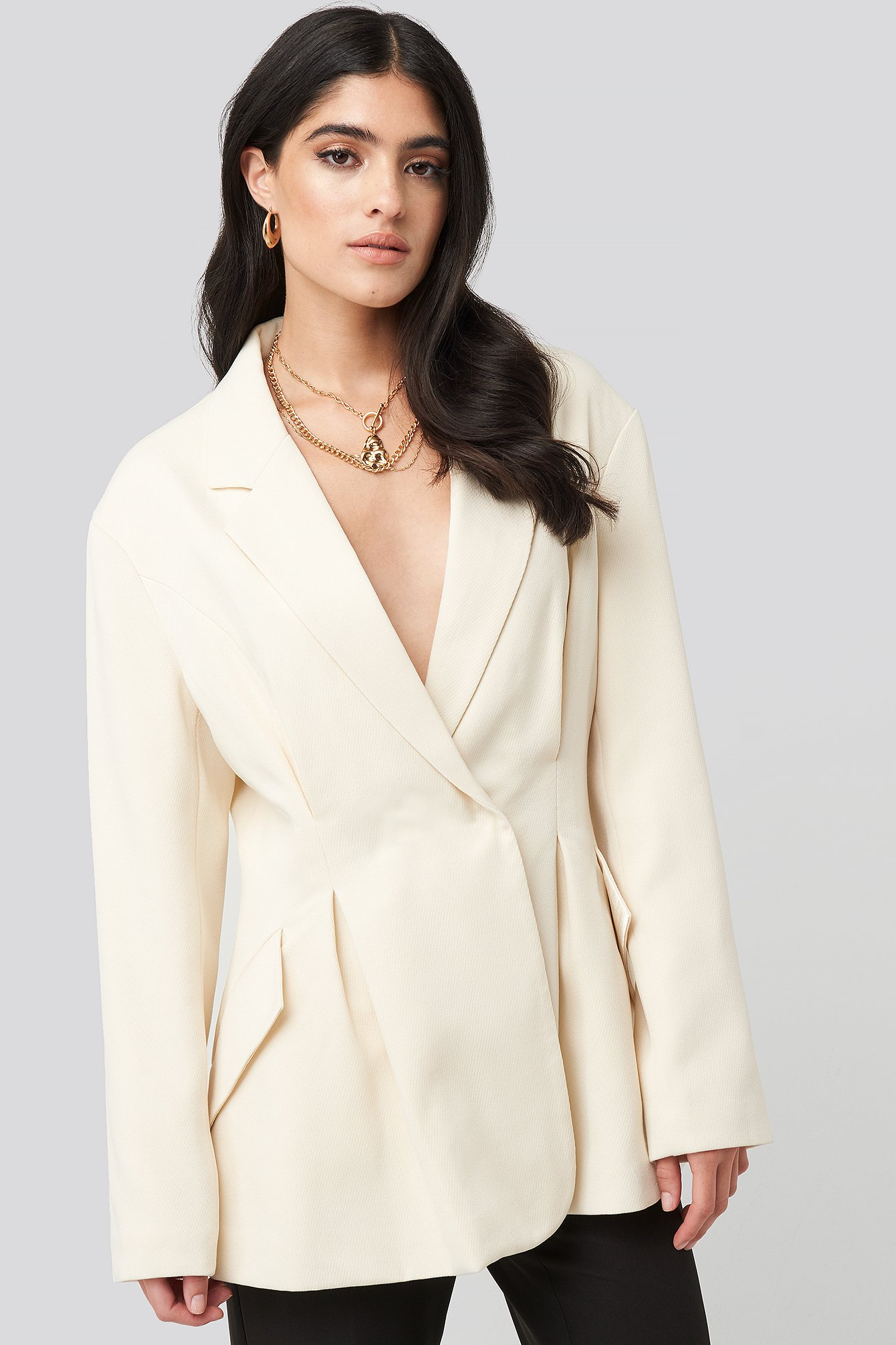 Cream Gathered Waist Blazer