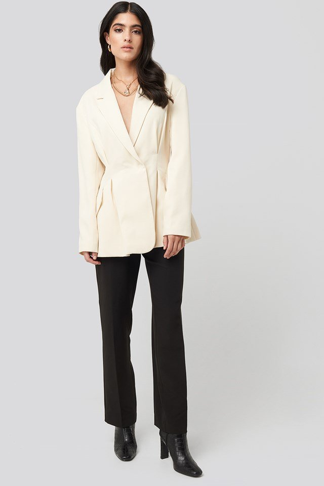 Gathered Waist Blazer Cream
