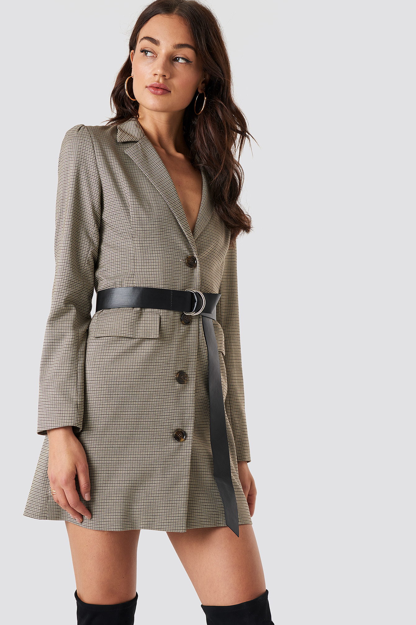 na-kd classic -  Gathered Waist Blazer Dress - Brown