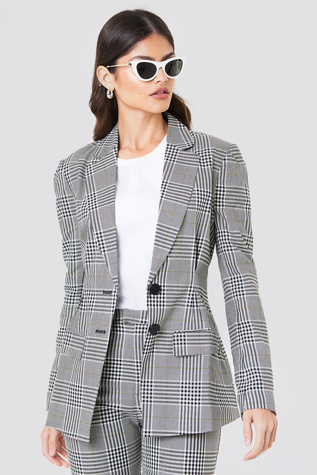 Gathered Waist Checkered Blazer NA-KD Classic