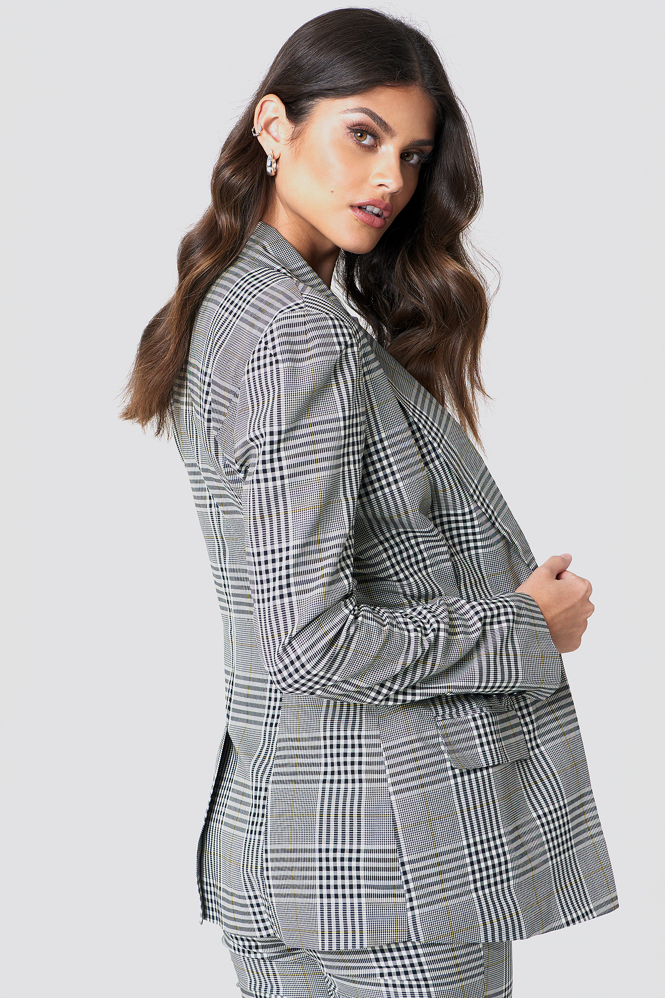 Gathered Waist Checkered Blazer NA-KD.COM