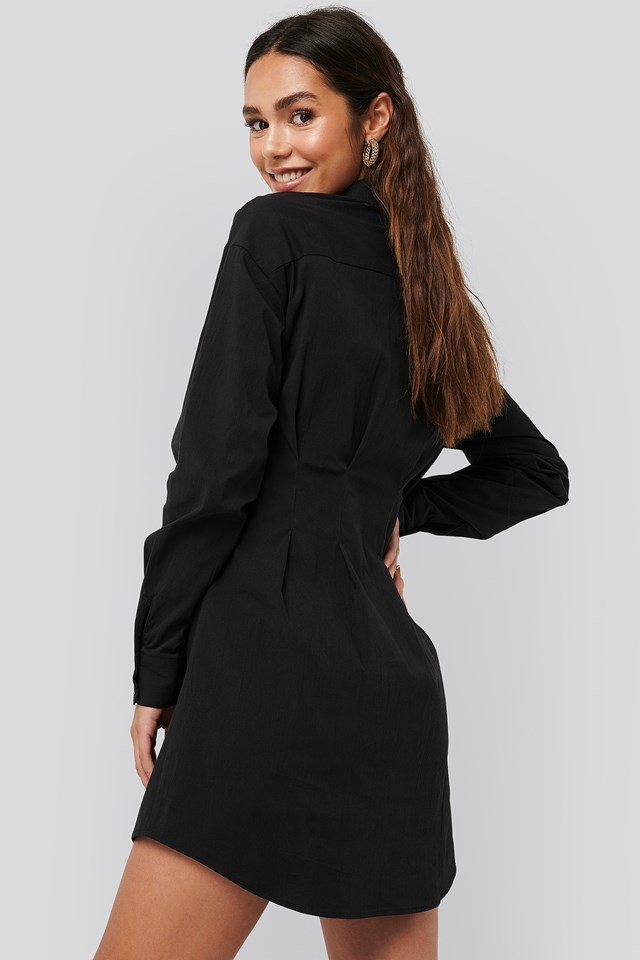 Gathered Waist Mini Shirt Dress Black