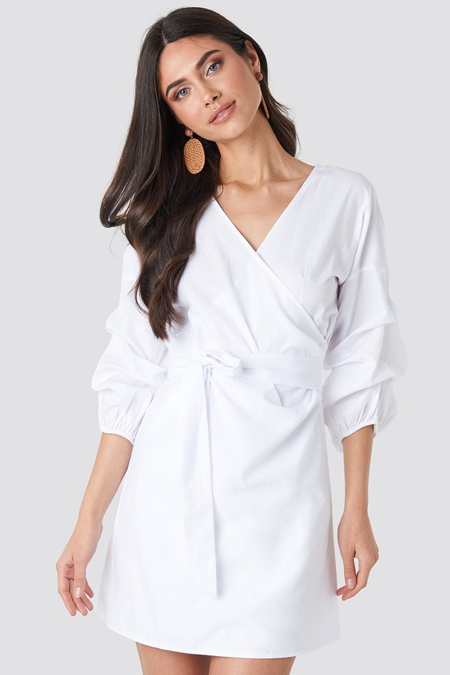 Gathered Waist Puff Sleeve Dress White