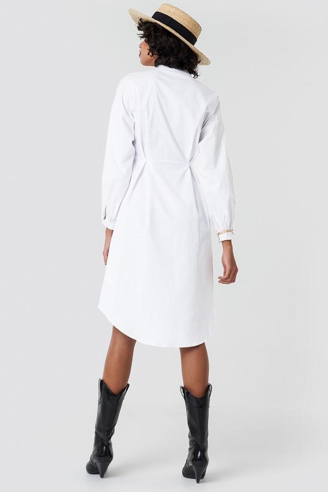 Gathered Waist Shirt Dress White
