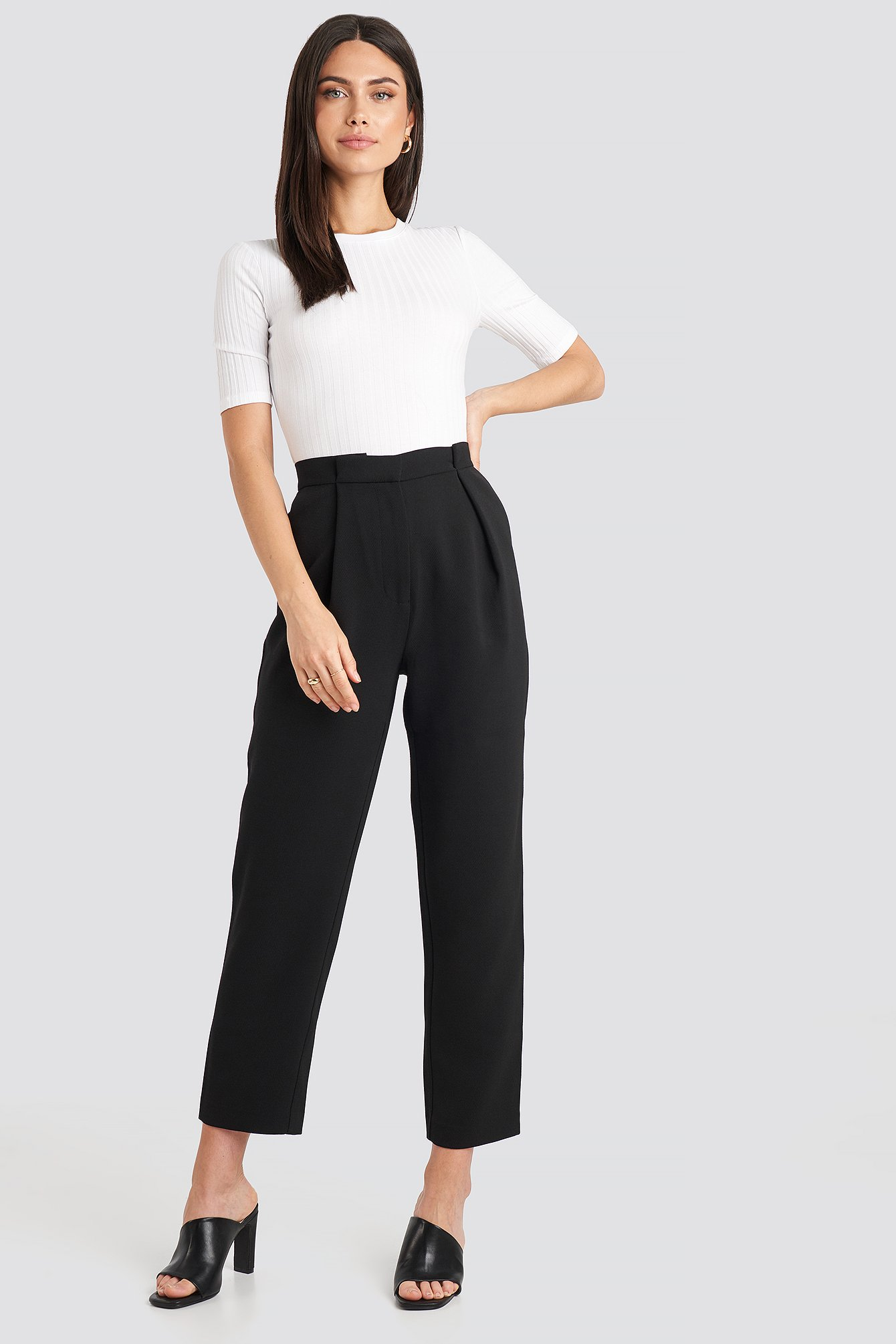 na-kd classic -  Gathered Waist Suit Pants - Black