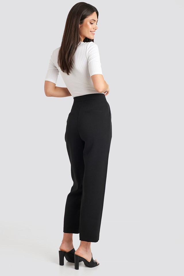 Gathered Waist Suit Pants Black