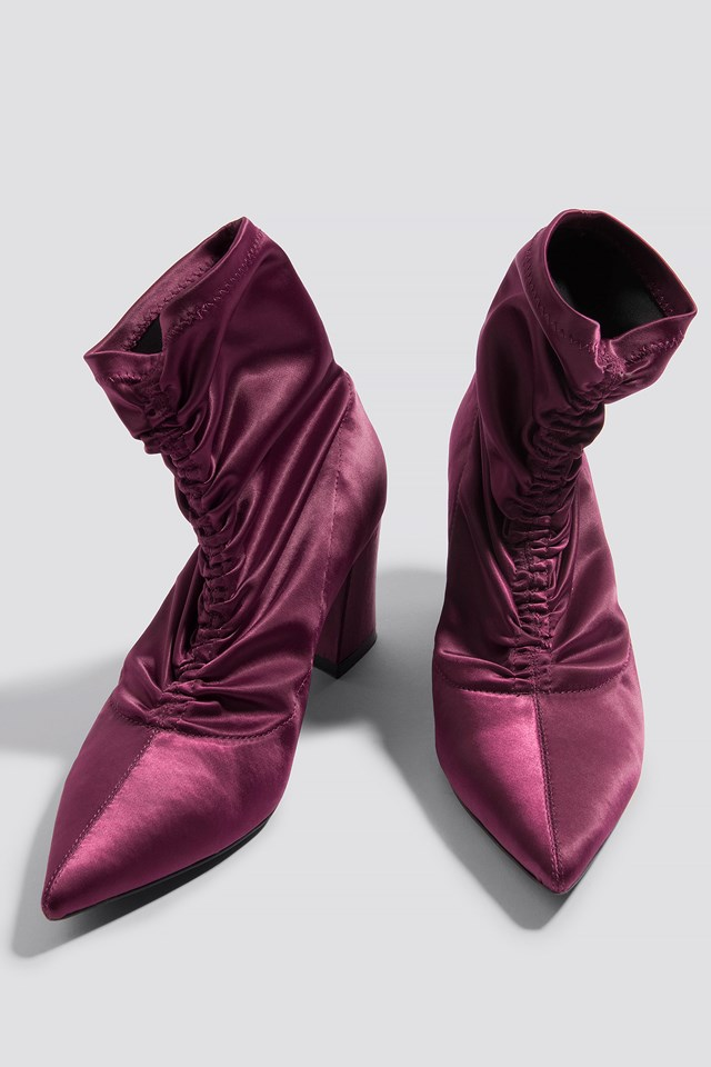 Gathered Front Sock Boots Burgundy