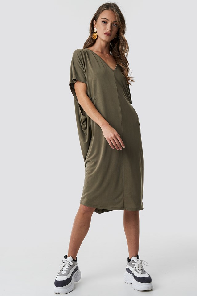 Gathering Detail Oversize Dress Khaki
