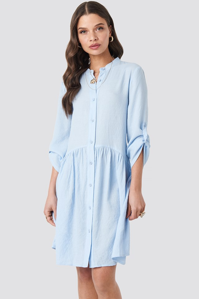 Gathering Detail Shirt Dress Light Blue