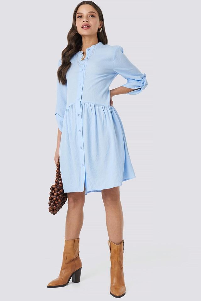 Gathering Detail Shirt Dress Light Blue