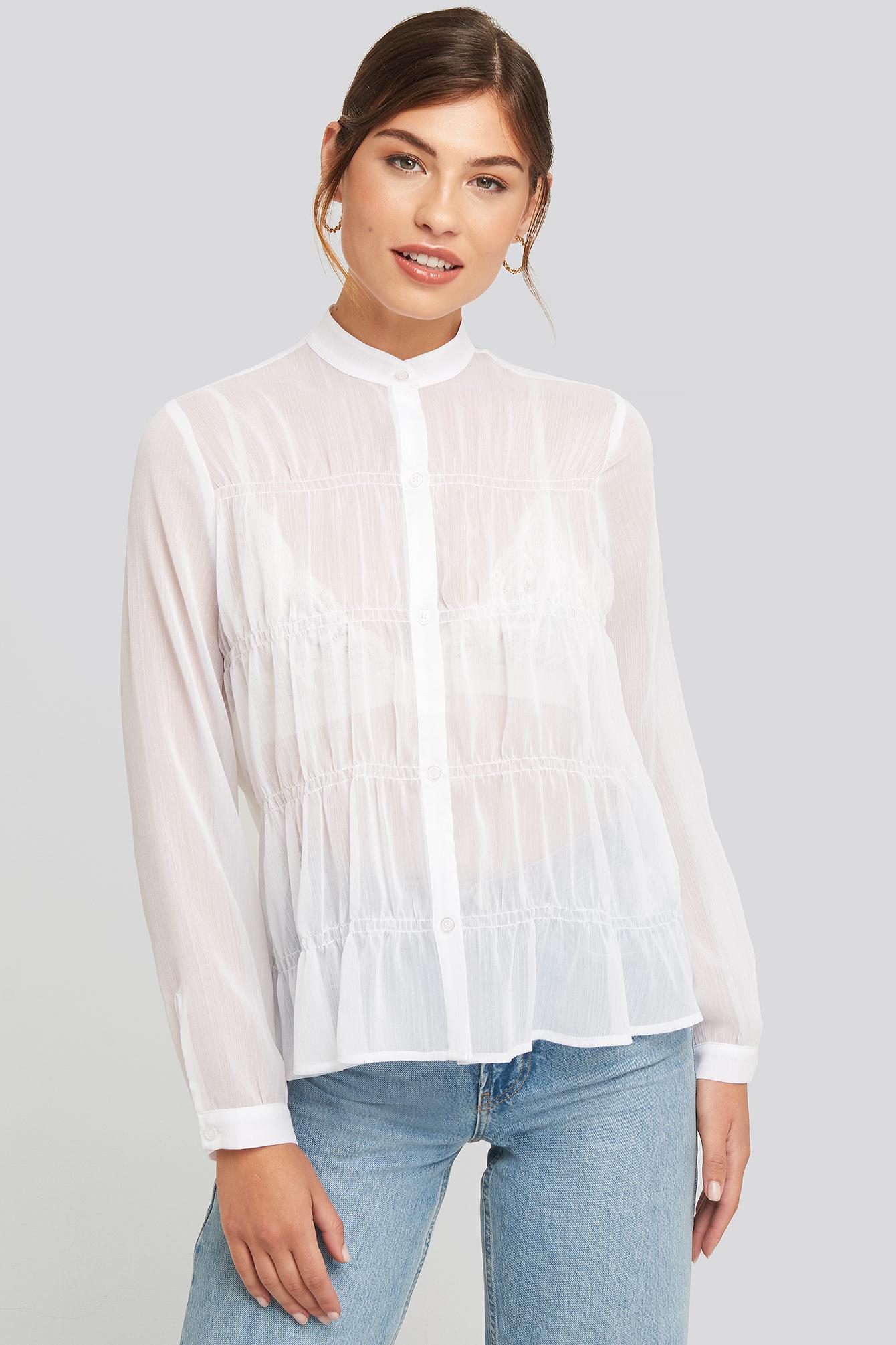 NA-KD Boho Gatherings Detail Chiffon Shirt - White