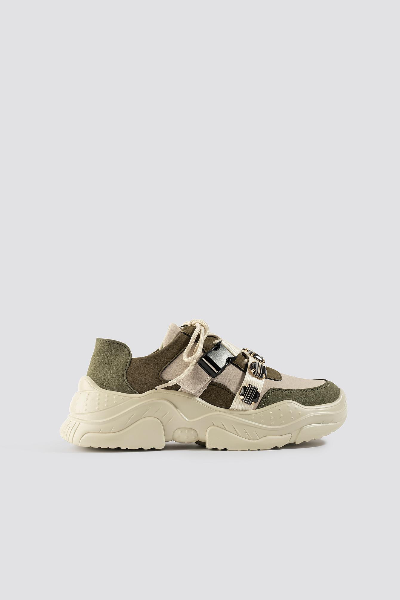 na-kd shoes -  Gem Trim Chunky Sneaker - Beige