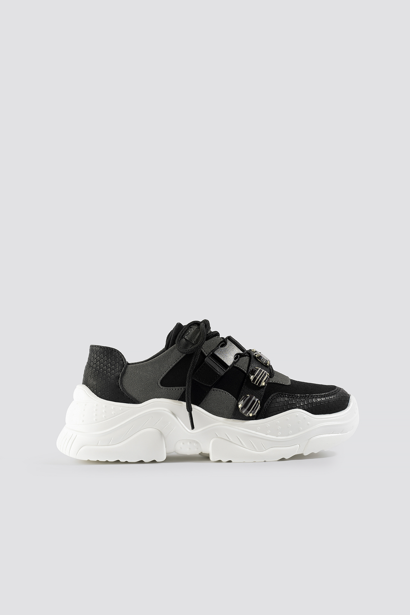 NA-KD Shoes Gem Trim Chunky Sneaker - Black | Schuhe > Sneaker > Sneaker | NA-KD Shoes