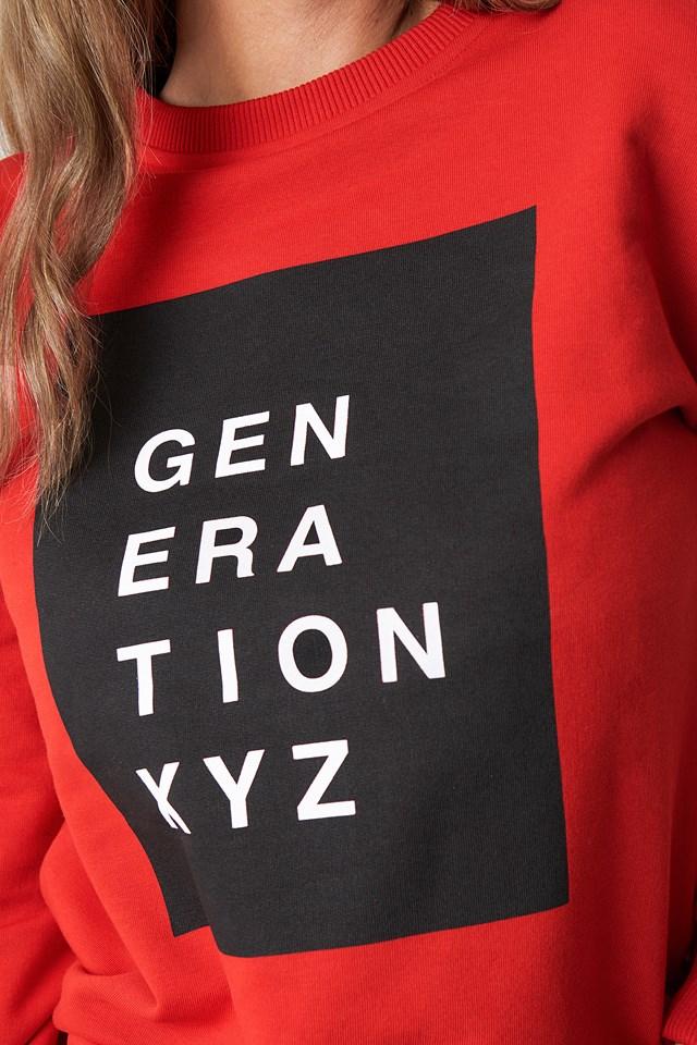 Generation XYZ Oversized Sweatshirt Red