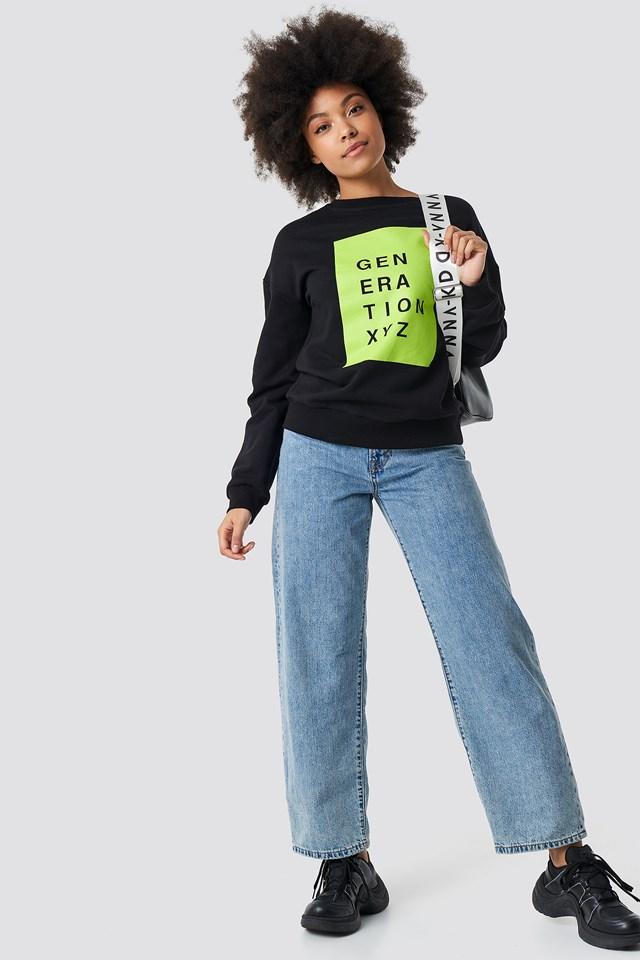 Generation XYZ Oversized Sweatshirt Black