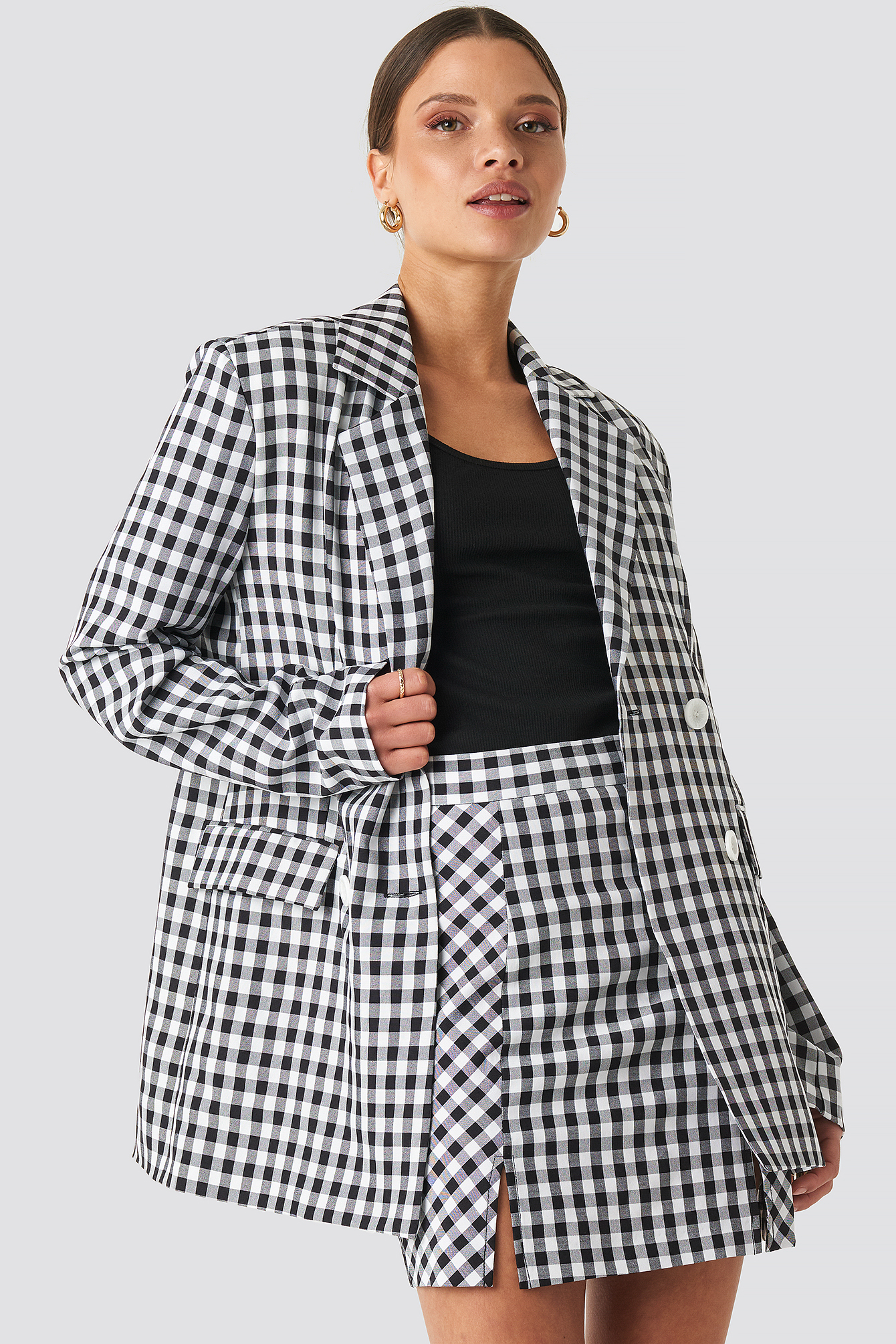 na-kd classic -  Gingham Double Breasted Blazer - Multicolor