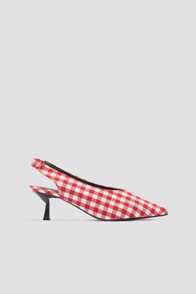Gingham Kitten Heel Pumps Red/White