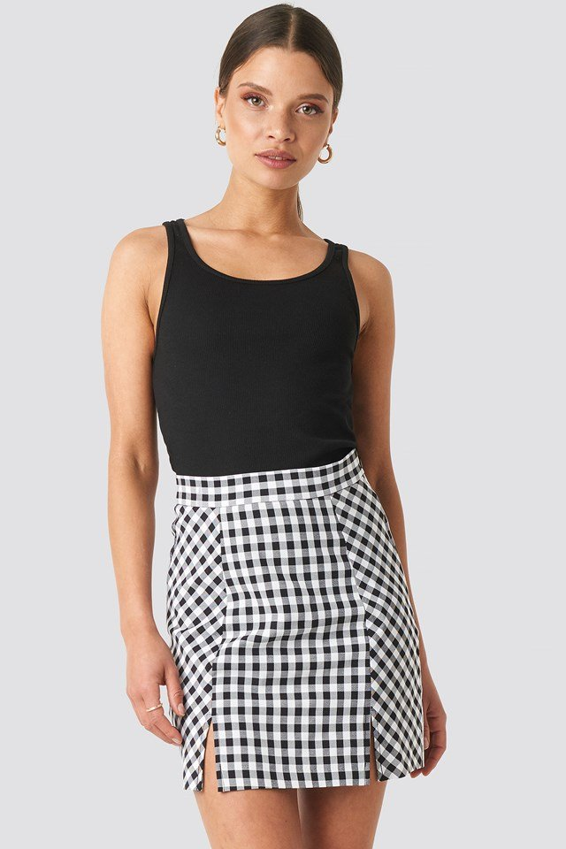 Gingham Mini Skirt Black/White Check