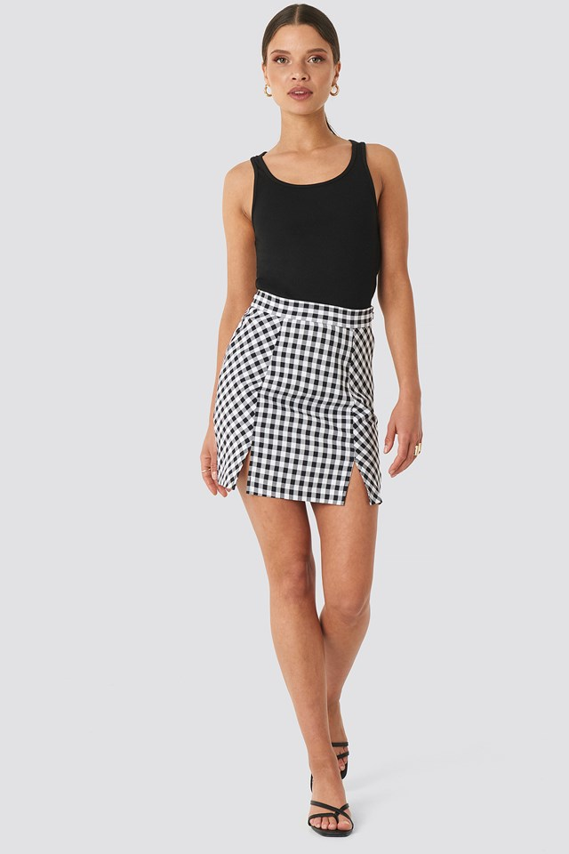 Gingham Mini Skirt Black/White Check