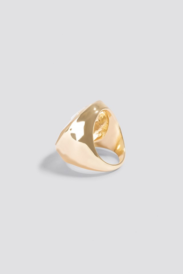 Glass Stone Ring Gold