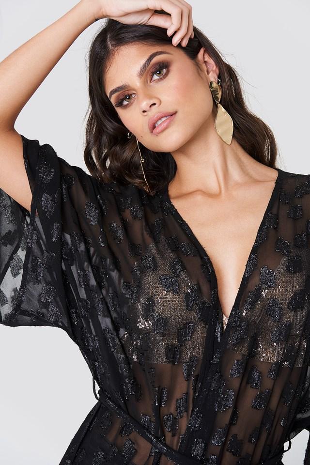 Glitter Coat Dress Black