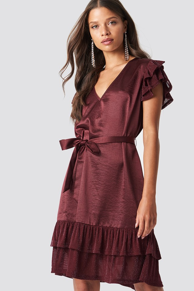 Glitter Frills V-Neck Mini Dress Burgundy