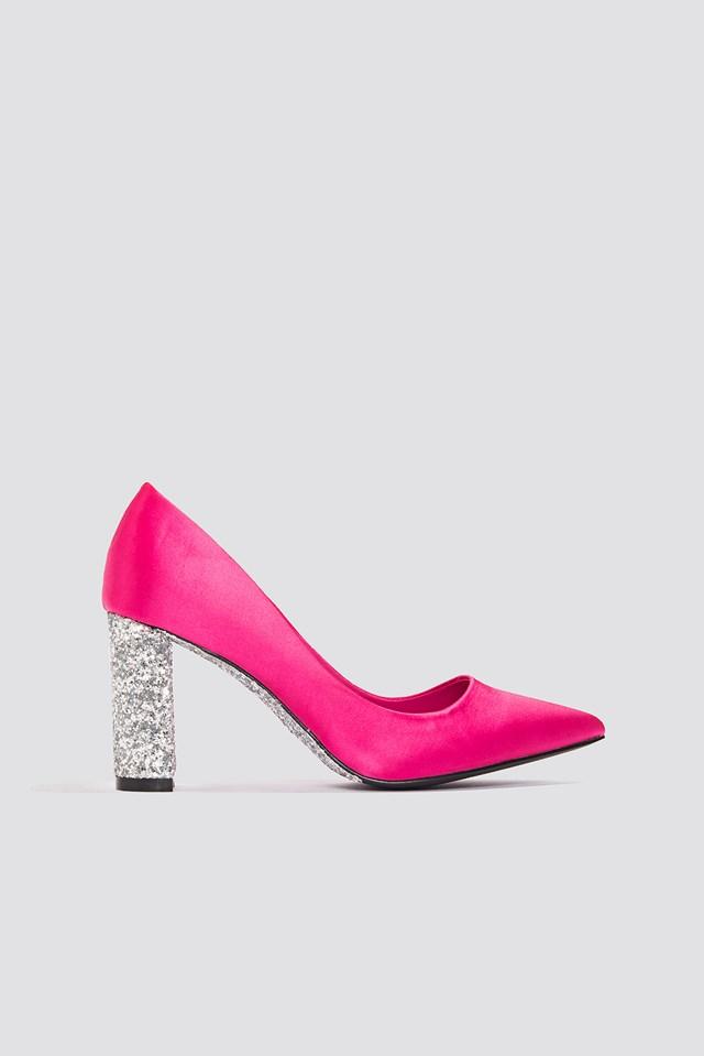 Glitter Heel Satin Pumps Magenta/Silver